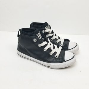 Converse Black Leather High Top Sz 2